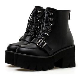 High Platform Buckle Straps Lace Up Women Boots