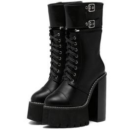 High Platform Lace Up Mid Calf Women Boots