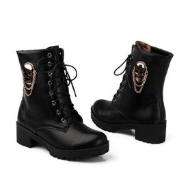 Skull Chain Medal Lace Up Chunky Heels Women Boots