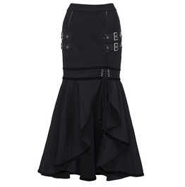 Women's Dark High Waist Fishtail Ruffled Skirt
