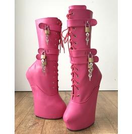 Myla 3 Heavy Hoof Sole Heelless Mid Calf Boots Custom Made Pink Matte