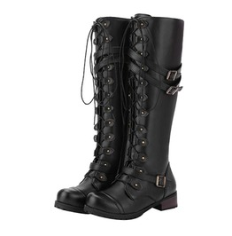 Stylish Knee Length Lace Up Strappy Women Boots
