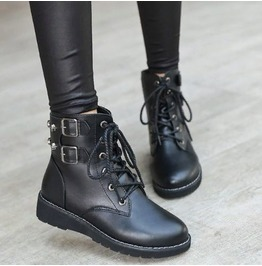 Skull Studded Lace Up Women Boots