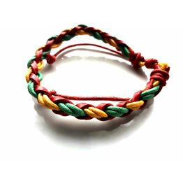 Cool! Handcrafted Red Gold Green Leather Plaited Strap Design Wristband