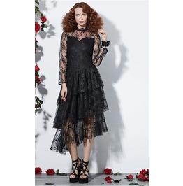 Rebelsmarket asymetric lace work black dress dresses 6