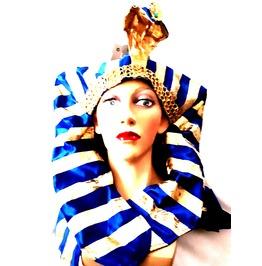 Fun New Vintage Fancy Dress Royal Blue Gold Stripe Phorah Head Dress