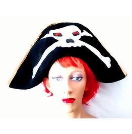 Fun New Vintage Fancy Dress Black Pirate Skull Head Cross And Bones Hat