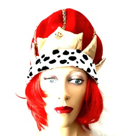 Fun New Vintage Fancy Dress Ruby Red Kings Crown With Colourful Jewel Style