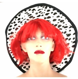 Fun New Vintage Fancy Dress Large Rim Hat Black And White Dalmation Cowgirl