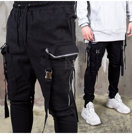 Belted Strap Double Zippered Big Pocket Banding Pants 258