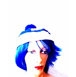 Fun New Vintage Fancy Dress Hat Blue + White Sailor Or Andy Pandy Style