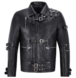 Michael Jackson Inspired Leather Men Music Fashion Black Mj Bad Leather Jac