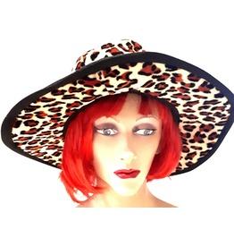 Fun New Vintage Fancy Dress Large Rim Hat Yellow Leopard Print Style