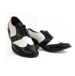 Mitu Black And White Pointy Saddle Shoe Vintage Pinup Girl Flats Leonor