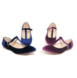 Mitu Blue / Burgundy Suede Vintage Pinup Girl T Strap Flats Lola