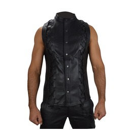Gothic Mens Lace Up Waistcoat Steampunk Halloween Waistcoat