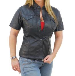 Womens Gothic Rock Real Leather Shirt Fetish Short Sleeve Shirt