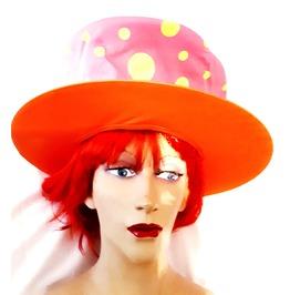 Fun New Vintage Fancy Dress Lrge Rim Orange Pink Yellow Spot Mad Hatter Hat