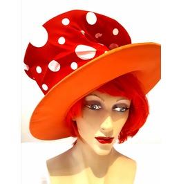 Fun New Vintage Fancy Dress Large Rim Orange Red White Spots Mad Hatter Hat