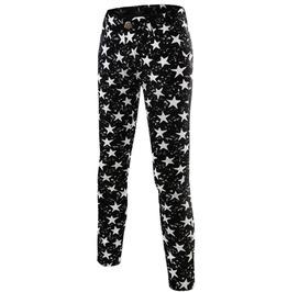 Stars Print Slim Stretch Skinny Denim Jeans Pants