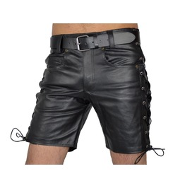 Men's Side Laces Shorts Real Leather Casual Cub Wear Cargo Shorts