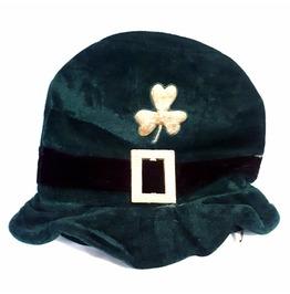 New Irish Vintage Fancy Dress Leprachaun Dark Green Shamrock Buckle Hat