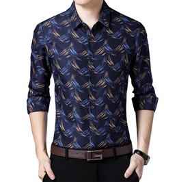 Waves Print Long Sleeve Turn Down Collar Dress Shirt Men
