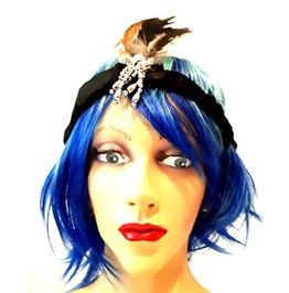 Fun New Vintage Fancy Dress Feather Black Eye Catching 1920 1930 Headband