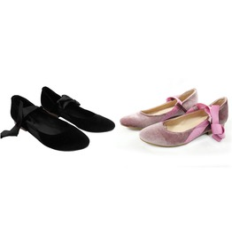 Mitu Black / Pink Suede Vintage Pinup Girl Lace Up Flats Lucia