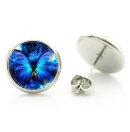 Cabochon Dome Blue Light Butterfly Earrings Gp2