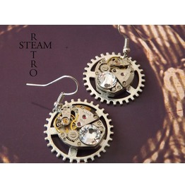 Clear Swarovski Crystal Steampunk Earrings