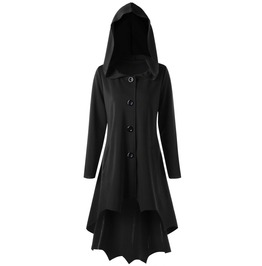 Lace Up Hooded Dip Hem Coat