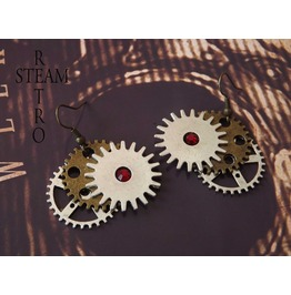Steampunk Ruby Gearwheel Earrings Steamretro