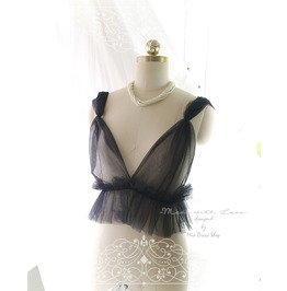 Dreamy Witchy Tulle Black Airy Cami Camisole Bralette , Daddys Girl Ddlg Cl