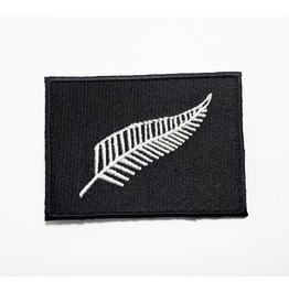 The Black & Silver Fern New Zealand Flag Embroidered Iron On Patch.