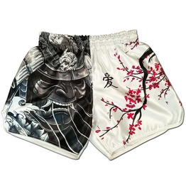 Cherry Blossom Samurai Fight Shorts Unisex Casual Gym Trunks Yoga Pants New