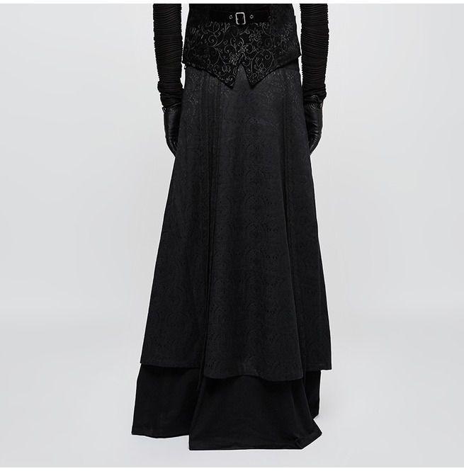 02d389cdc8 Gothic Black Embroidered Jacquard Scottish Kilt Long Skirt For Men | Punk  Rave