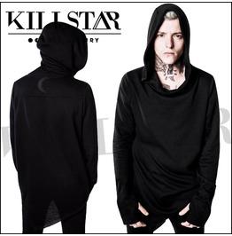 Killstar Black Immortal Coil Tunic Distressed Hooded Sweater Ks22
