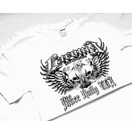 Cool New White Biker Vintage Rally T Shirt Motorbike Winged Skulls Design