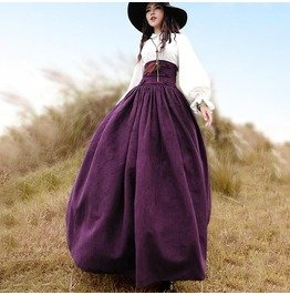 Purple Peasant Lace Up Corset Perl Loose Womens Maxi Skirt