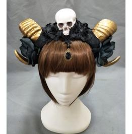 Skull Goth Punk Bronze Horns Lace Black Rose Womens Headdress Accessories
