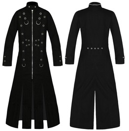 Men Hellraiser Long Cotton Coat Gothic Vampire Trench Coat Punk Men Jacket