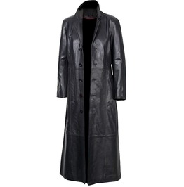Mens Gothic Full Length Coat Genuine Lambskin Leather Coat Front 5 Buttons