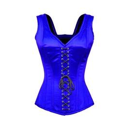 Blue Satin Shoulder Strap Front & Back Lace Burlesque Overbust Corset Top