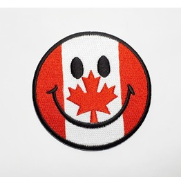 Smiley The Maple Leaf Of Canadian Embroidered Iron On Patch.