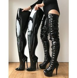 Rtbu Chris Hard Shaft Customized Crotch Hi 18cm Stiletto Boots Black Patent
