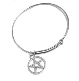 Enchanting Tibetan Silver Pagan Wiccan Symbol Bangle Adjustable Silver Metal