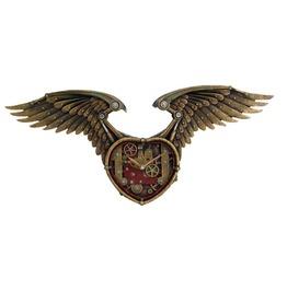 Me8882 Myth Steampunk Winged Heart Clock.