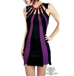 Raye Modern Circus Gothic Stripe Dress
