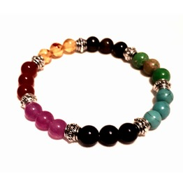 Spiritual Chakra Rainbow Colours Gemstone Bead Elasticated Bracelet